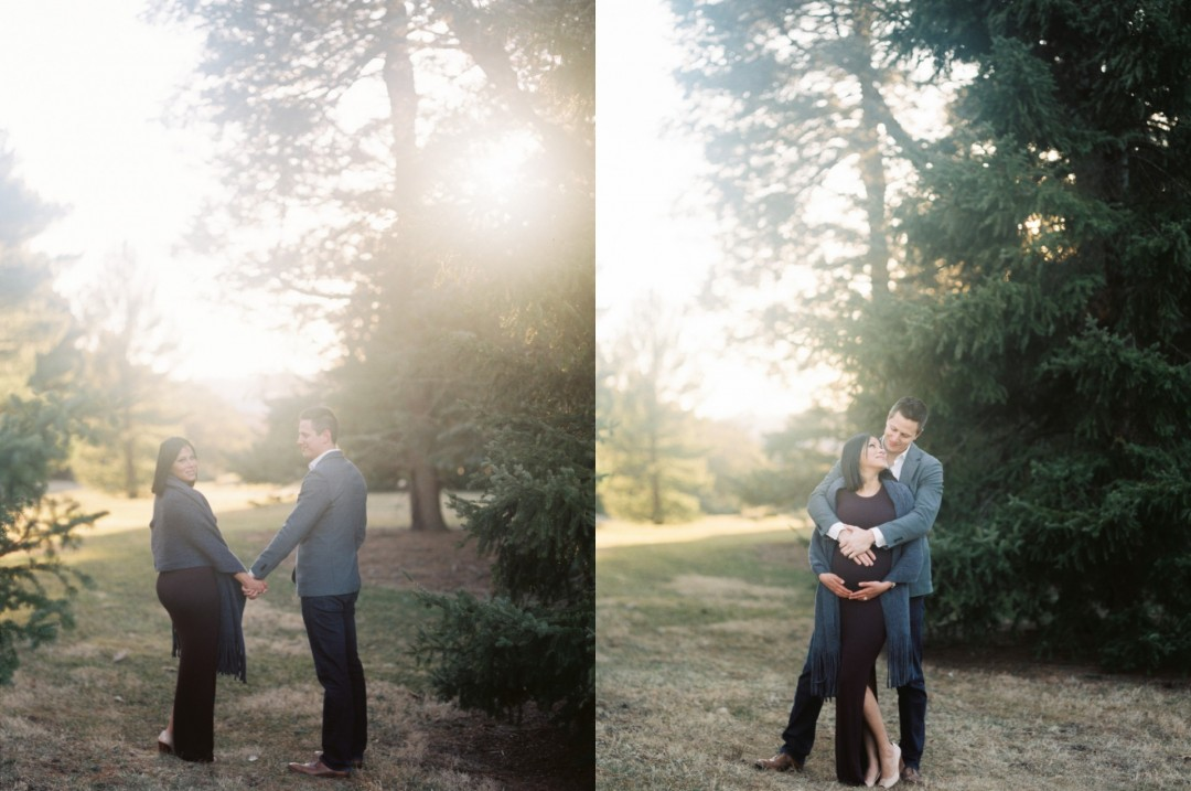 The Morton Arboretum Maternity Session | Film Photography Fuji 400H